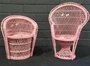 Sale 8979 - Lot 1023 - Two Pink Painted Dolls Peacock Chairs (h:40cm)