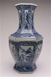 Sale 9044 - Lot 65 - A Blue And White Chinese Vase decorated With Mountain Scenes H: 57cm