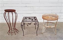 Sale 9102 - Lot 1290 - Collection of three rustic metal plant stands