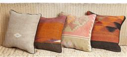 Sale 9123J - Lot 99 - Four throw cushions repurposed from Antique Kilim rugs, each with inserts and each approx 40 x 40cm