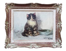 Sale 9150J - Lot 63 - MADELEINE TOMBU (1897 - 1995, BELGIUM) cat , oil on board signed 30 x 40 cm Cat oil on board 30 x 40 cm signed lower right