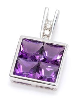 Sale 9168J - Lot 302 - A 14CT WHITE GOLD AMETHYST AND DIAMOND PENDANT; invisible set with 4 carre cut amethysts to bail channel set with 3 round brilliant...