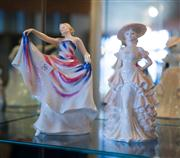 Sale 7984 - Lot 56 - A Royal Doulton figurine of Liberty together with a Coalport figure.