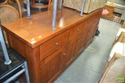 Sale 8331 - Lot 1390 - Large Timber 3 Drawer 4 Door Sideboard