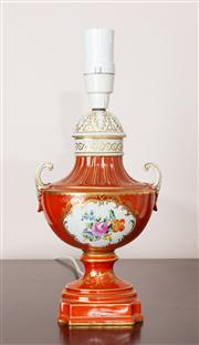Sale 8774A - Lot 322 - A Dresden porcelain lamp with burn orange ground and floral cartouche H x 43cm