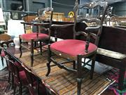 Sale 8814 - Lot 1086 - Pair of Late 19th Century French Provincial Beech Ladder Back Armchairs, with red corduroy seat and cabriole legs