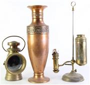 Sale 8960 - Lot 93 - Brass miners lamp (H25cm) together with a kerosene lamp (H49cm) and a large copper vase