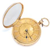 Sale 9037 - Lot 339 - AN ANTIQUE 18CT GOLD OPEN FACE POCKET WATCH; guilloche and floral engraved dial, Roman numerals, swing out movement, key wind, finel...