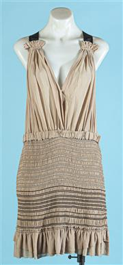Sale 9090F - Lot 93 - AN ISABEL MARANT HORAI RUCHED SILK GEORGETTE DRESS; in mushroom with black stitching, Size US 2