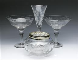 Sale 9098 - Lot 363 - Pair of Stuart crystal comports (H17cm) together with Royal Doulton crystal Potpourri and Waterford champagne flute