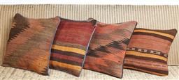 Sale 9123J - Lot 100 - Four throw cushions repurposed from Antique Kilim rugs, each with inserts and each approx 40 x 40cm