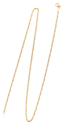 Sale 9164J - Lot 320 - AN 18CT GOLD TWISTED FOXTAIL CHAIN; 2mm wide to bolt ring clasp, length 52cm, wt. 7.06g.