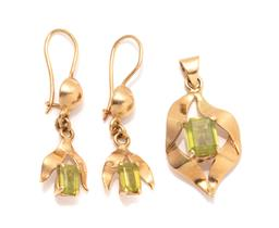 Sale 9260H - Lot 308 - An 18ct gold peridot pendant and earrings suite; each set with an emerald cut peridot, earrings with locking shepherds hook fittings...