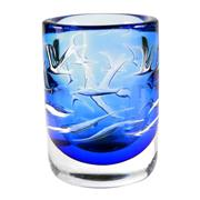 Sale 8000 - Lot 148 - Orrefors studio glass vase by Olle Alberius in blue tones with seagulls on waves,