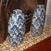 Sale 8107B - Lot 27 - A Pair of Contemporary Blue and White Chinese Vases.
