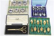 Sale 8470 - Lot 81 - Fairfax And Roberts Jewellers Scissors Together With Other Plated Ware Incl Gold And Silver Plated Spoons