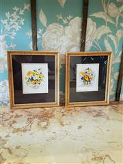 Sale 8500A - Lot 59 - A pair of Susan F Leister gilded framed watercolour floral artworks - Condition: Excellent - Measurements: 18cm wide x 21cm high