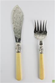 Sale 8572 - Lot 77 - Ivory Handle Fish Serving Set