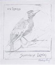 Sale 8583A - Lot 5086 - Sydney Long (1871 - 1955) - Ex Libris, Sydney Long (Magpie), c1920 12 x 10cm