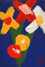 Sale 8665A - Lot 5048 - Kevin Charles (Pro) Hart (1928 - 2006) - Flowers 11.5 x 7.5cm