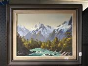 Sale 8726 - Lot 2049 - E J Thomas - Mount Tutoko, Fiordland NZ oil on board 29.5 x 39cm, signed lower left