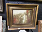 Sale 8888 - Lot 2011 - V Eisenhut - Woman with Cockatoo 1970 oil, 38 x 45cm (frame), signed