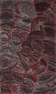 Sale 9015J - Lot 102 - Joy (Petyarre) Pitjara (1962 - ) - Yam Seed Dreaming 108 x 67 cm (stretched and ready to hang)