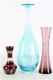 Sale 8968 - Lot 42 - A hand blown blue glass vase (H36.5cm) together with narrow vase (H25cm) and a bud vase (H14cm)