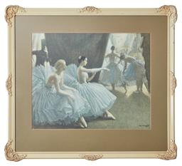 Sale 9098H - Lot 97 - A print after Dame Laura Knight of Ballerinas, Frame size 60cm x 77cm