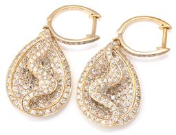 Sale 9124 - Lot 406 - A PAIR OF 9CT GOLD DIAMOND EARRINGS; drop shape pendants with swirl designs pave set with single cut diamonds with hoop fittings set...