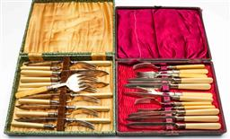 Sale 9176 - Lot 2669 - Two cased sets of entree suites with xylonite handles