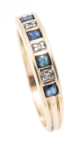 Sale 9182 - Lot 353 - A 9CT GOLD SAPPHIRE AND DIAMOND BAND; set across the top with 4 round cut blue sapphires between 3 single cut diamonds, width 4.2mm,...