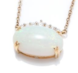 Sale 9253J - Lot 420 - AN 18CT GOLD OPAL AND DIAMOND NECKLACE; featuring an oval cabochon solid crystal opal of approx. 14.62ct, topped by a row of 7 round...