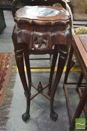 Sale 8255 - Lot 1007 - Chinese Fruitwood Pedestal, with marble panel, shaped apron, on ball & claw feet with stretchers