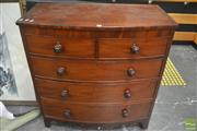 Sale 8323 - Lot 1001 - Late Georgian Mahogany Bow Front Chest of Five Drawers on bracket feet