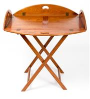 Sale 8518A - Lot 71 - A large Australian hardwood butlers tray on  matching folding stand. Conforming to the original Georgian design but of 20th century...