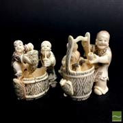 Sale 8540N - Lot 14 - A Selection of Chinese Figural Ivory , each with stained highlights (2)