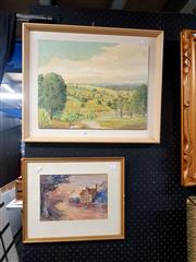 Sale 8671 - Lot 2051 - Group of (2) Artworks: Max Passmore - Landscape, oil painting, 32 x 40.5cm, and a watercolour of Cottages by an Unknown Artist. -