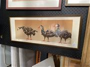 Sale 8910 - Lot 2014 - E. Byron The Geese, 1981screenprint ed. 6/9, 30 x 70cm (frame), signed and dated, together with a Beetle Study