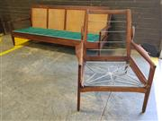 Sale 8967 - Lot 1067 - Fler 3 Seater Click Clack Lounge with Rattan Back Together with Matching Armchair (H:79 W:200cm)