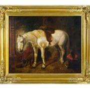 Sale 8972H - Lot 36 - C19th British School Horse and other animals in barn oil on canvas on board  50 x 61cm - unsigned