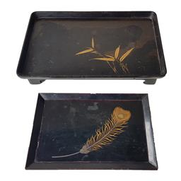 Sale 9093P - Lot 21 - Two Early Japanese Black Lacquer Trays with Peacock Feather (24.5 x 16.5cm) and Another with Bamboo Design (restored, 33 x 21cm).