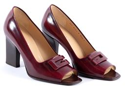 Sale 9132 - Lot 408 - A PAIR OF GUCCI OPEN TOE HEELS, burgundy leather with G monogram applied to toe, stacked heel, size 35 1/2, with box.