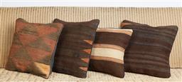 Sale 9123J - Lot 106 - Four throw cushions repurposed from Antique Kilim rugs, each with inserts and each approx 40 x 40cm