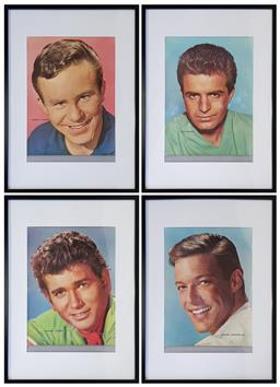 Sale 9151 - Lot 1022 - Set of 4 vintage personality framed posters (h:82 x w:62cm)