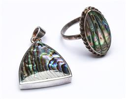 Sale 9156 - Lot 79 - A Duo of Vintage Paua Shell Sterling Silver Jewellery, Both Stamped 925, including a pendent and a dress ring , (wt11g)