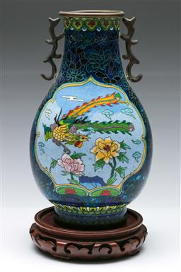 Sale 9164 - Lot 119 - A cloisonne twin handled vase on stand (some damage apparent, dents and losses) (H 26cm)