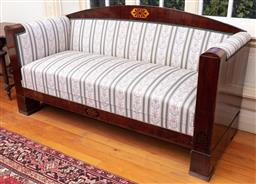 Sale 9190H - Lot 109 - Beidermeyer style settee with inlaid timber frame with palmette design with striped upholstered seat, Height of back 108cm x Width 2...
