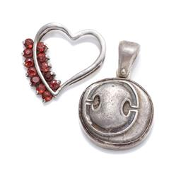 Sale 9253J - Lot 326 - TWO SILVER PENDANTS; open love heart frame set with round cut garnet, size 24 x 24mm, other replica Stater coin of Thebes in Boeotia...