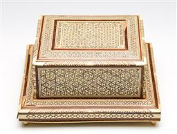 Sale 9253 - Lot 35 - A bone and mother of pearl inlaid hinge lid cigarette box - some damage (10cm x 20cm x 17.5cm)